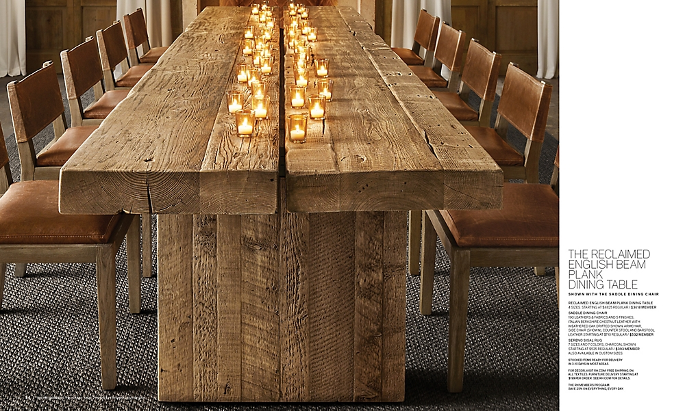 shop Reclaimed English Beam Plank Dining Table