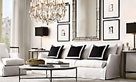 shop Thaddeus Iron Marble Round and Lee Sofa Living