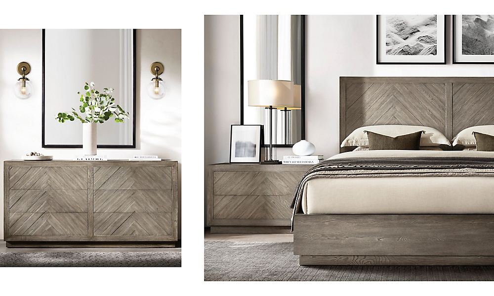 shop Herringbone Grey Oak Bed