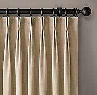 Custom Belgian Textured Linen 2-Fold French-Pleat Drapery<br><b><small><em>Select Colors On Sale</em></small></b>