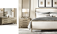 shop French Contemporary Grey Bed & Dresser Smerge