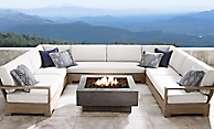 shop Belvedere Weathered Teak U-Sectional