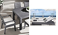 shop Belvedere Slate Metal Dining and Chaise