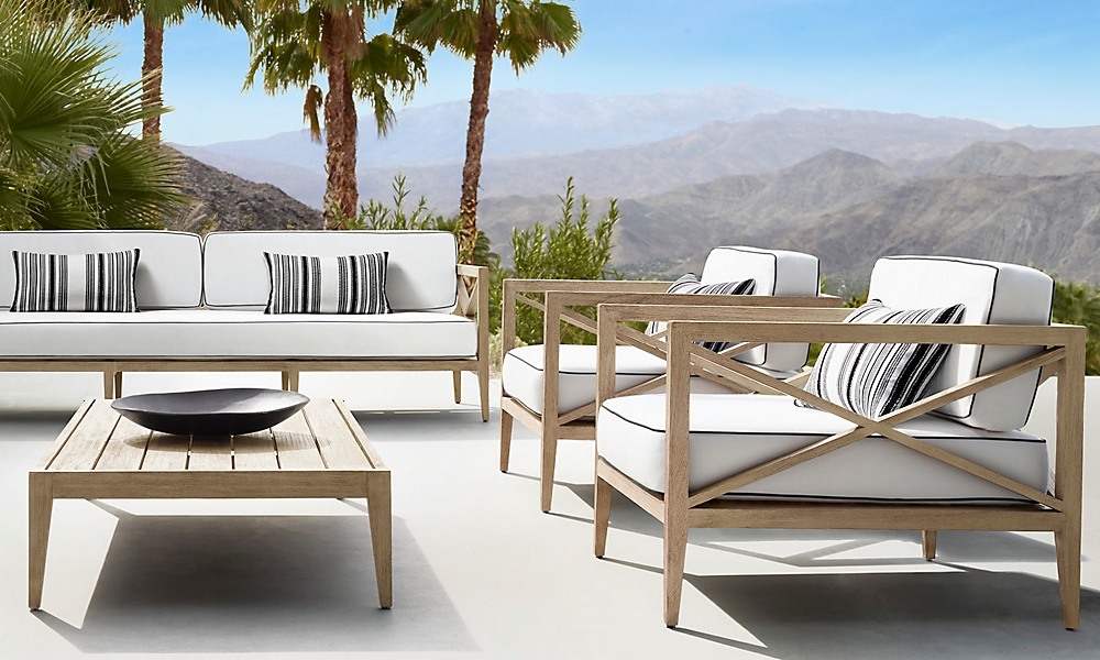 shop Mustique Weathered Teak Low Seating