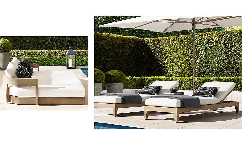 shop Balmain Weathered Teak Chaises and Daybed