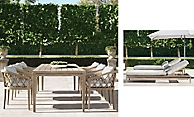 shop Greystone Weathered Teak Dining and Chaise