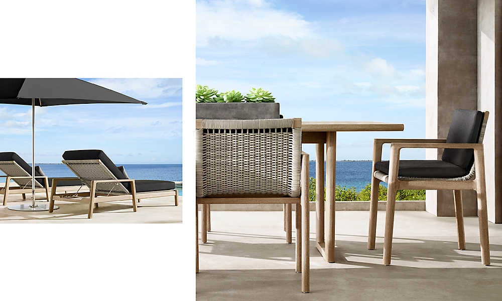 shop Mesa Weathered Teak Dining and Chaise