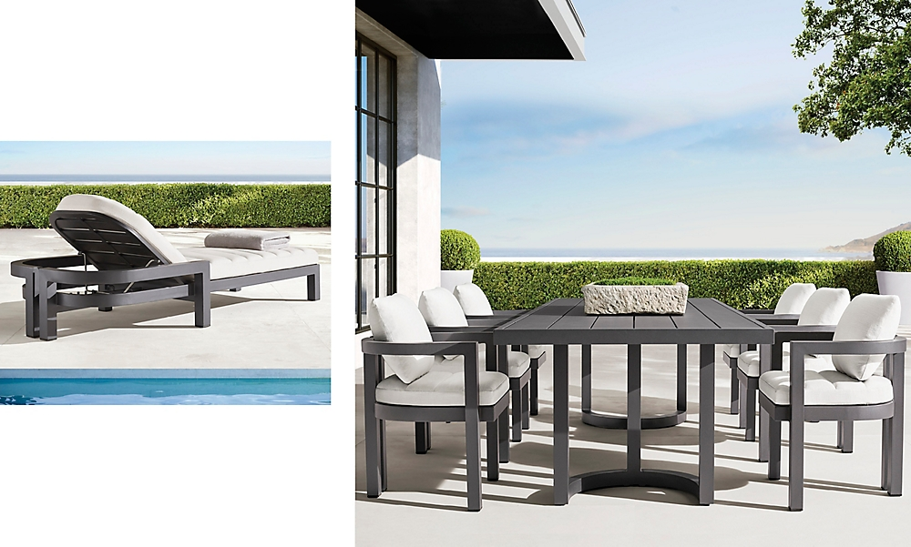 shop Potrofino Slate Metal Chaise and Concrete Dining