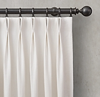 Custom Washed Belgian Linen 2-Fold French-Pleat Drapery