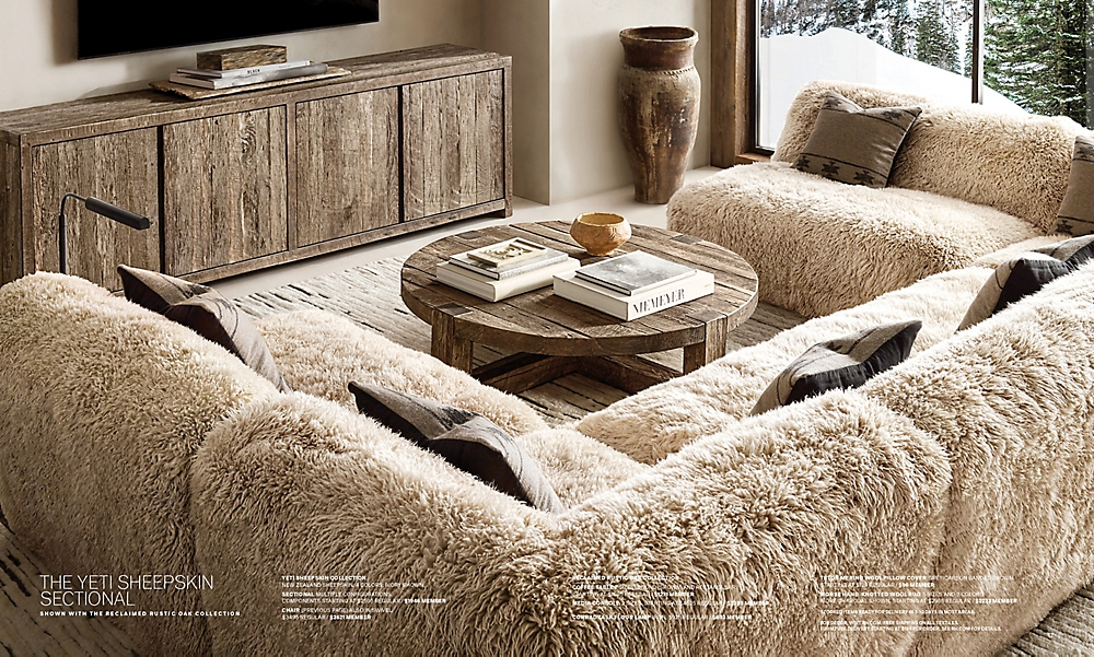 shop Yeti Sheepskin Sectional - Ivory