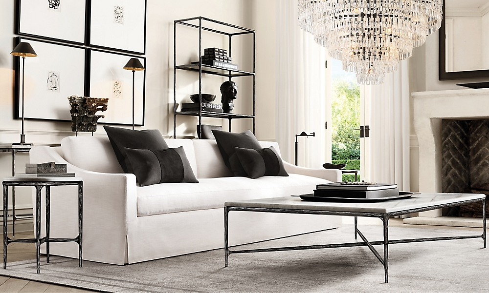 shop Thaddeus Iron Marble and Lee Sofa Living