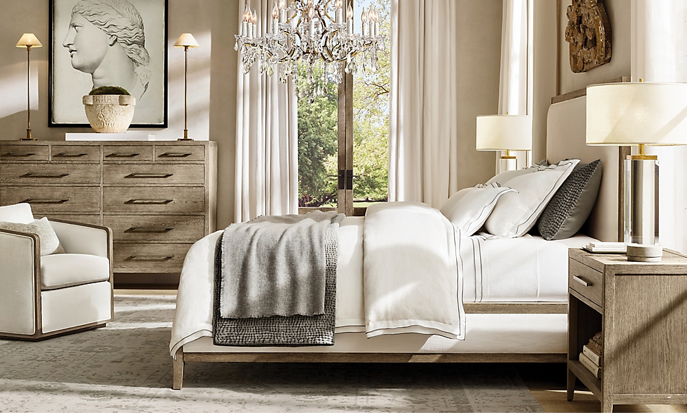 shop French Contemporary Grey Bed