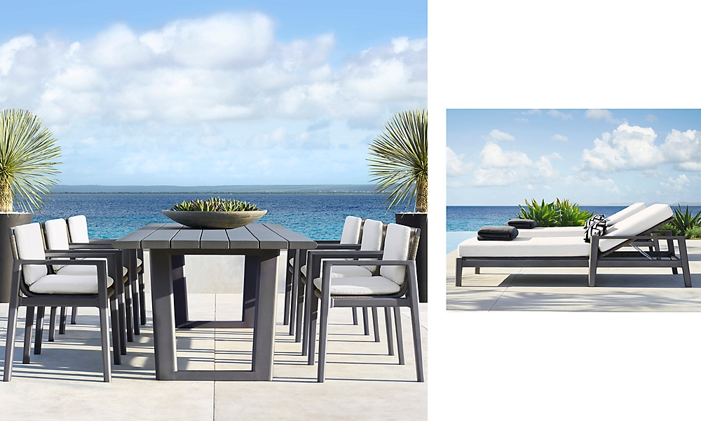 shop Mesa Slate Metal Dining and Chaise