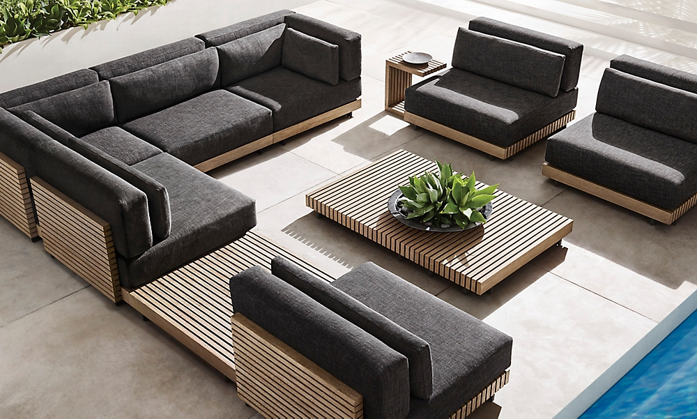 shop Platform Weathered Teak L-Sectional Low Seating
